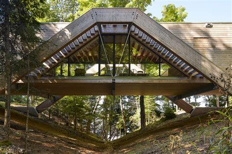 Bridge House Home Across A by Beautiful Cedar Clad Bridge House Crosses A Ravine In Ontario