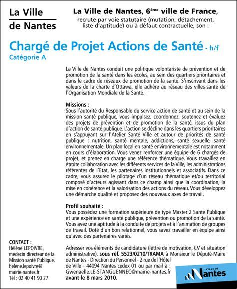 lettre de motivation cadre infirmier charg 233 de projet actions de sant 233 h f talents fr