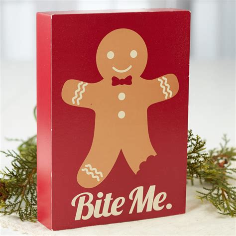 gingerbread man bite  chunky block sign table decor