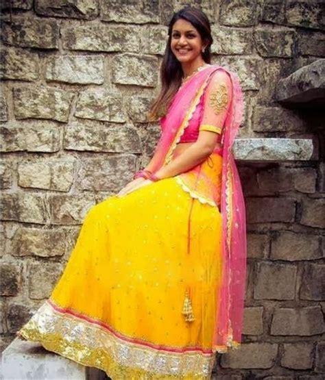 yellow georgette half sari sarees sari indian dresses lehenga blouse