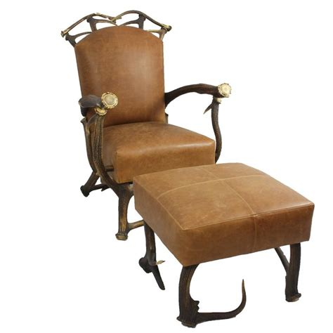 brown leather and stag antler chair with matching