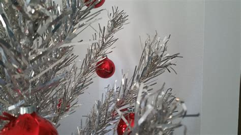 silver christmas tree red ornament free stock photo