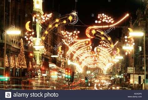 christmas decorations in regent street london uk 1980