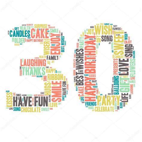word cloud happy birthday celebration 30 stock