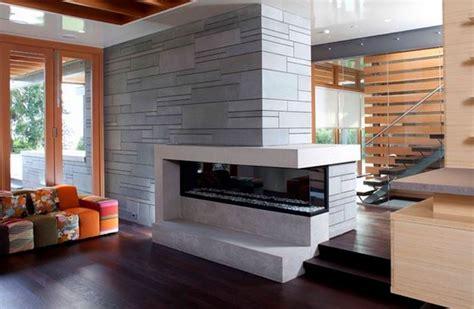 idee cuisine ilot central salon moderne avec cheminée deco maison moderne
