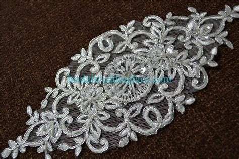 Lace Applique by Ivory Beaded Lace Applique With Silver Cord Wedding