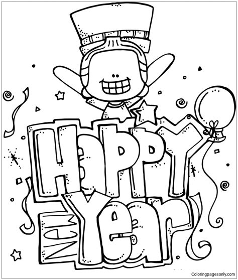 happy new year coloring pages happy new year 9 coloring page free coloring pages