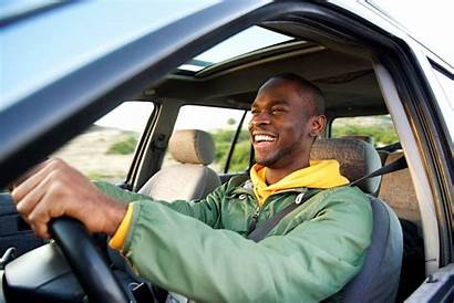 Driving Happy African American Insurance Portrait Side