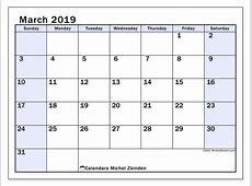 Calendars March 2019 SS Michel Zbinden en
