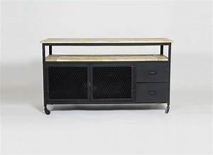 Meuble Tv Metal : meuble tv caruso 4 tiroirs style industriel en bois et metal ~ Teatrodelosmanantiales.com Idées de Décoration