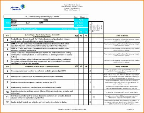 quality checklist template excel exceltemplates