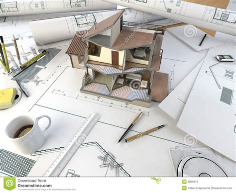 Architect Drawing Table With Section Model Stock Photos   Image: 8829313