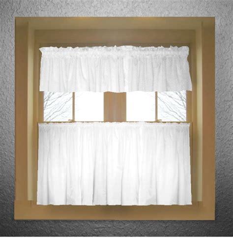 bright white color tier kitchen curtain  panel set