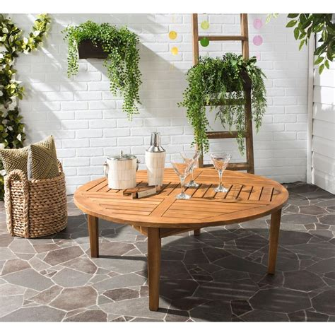 teak outdoor coffee table safavieh danville 39 4 in acacia in teak brown round