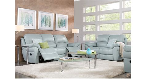 Light Blue Living Room With Furniture by 2 199 99 Vercelli Aqua Light Blue Leather 3 Pc Living