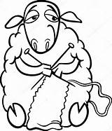 Knitting Sheep Coloring Clip Knit Clipart Cartoon Illustration Farm Funny Animal Vector Needles Yarn Drawings Drawing Wool Fotosearch Silhouette Knitted sketch template