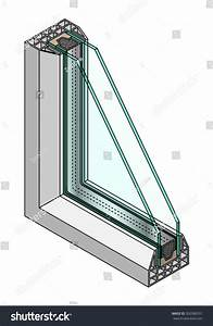 Crosssection Diagram Double Glazed Window Stock Vector
