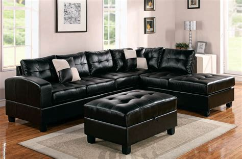 black leather sectional with ottoman sectional sofa deals homesfeed