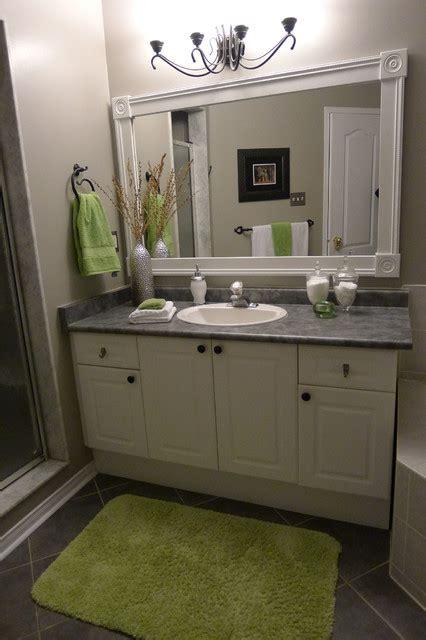 Bathroom Framed by Bathroom Vanity With Custom Mirror Frame Contemporary