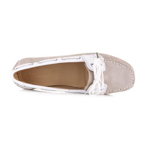 Sebago Bala Boat Shoes Taupe by Womens Sebago Bala Taupe Suede White Moccasin Deck Boat