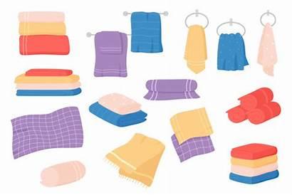 Cartoon Towel Cloth Textile Bath Bathroom Vector