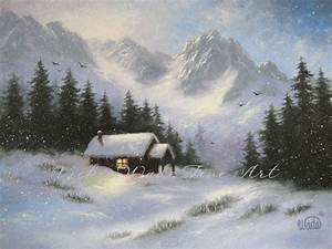 Snowy Mountain Cabin Art Print snow winter mountains cabin
