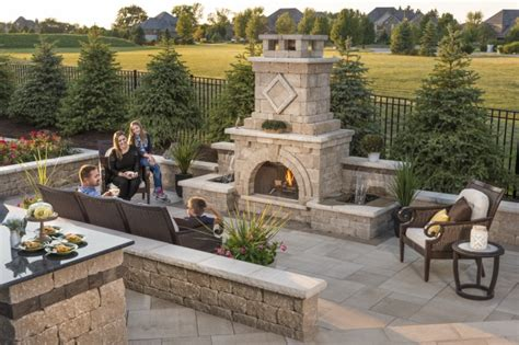 Unilock Fireplace Dimensions by Add Vertical Dimensions With Pillars Steps And Retaining