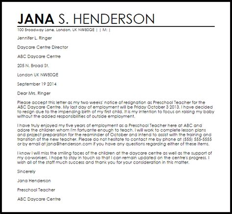 daycare resignation letter example letter samples 787 | daycare resignation letter