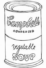 Soup Coloring Campbell Sketch sketch template