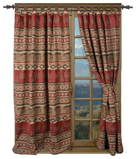 adirondack rustic cabin curtain drape set rustic