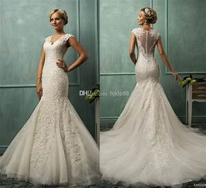 sexy v neck tulle applique pearl illusion backless mermaid With cheap wedding dresses online