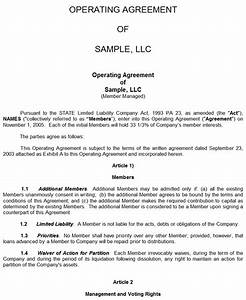 Sample llc operating agreement for Llc agreement sample