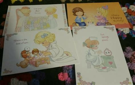 4 Precious Moments Greeting Cards 3 are Get Well 1 is