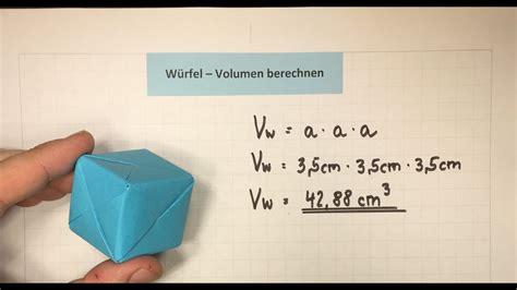 wuerfel volumen berechnen mathematik lehrerschmidt