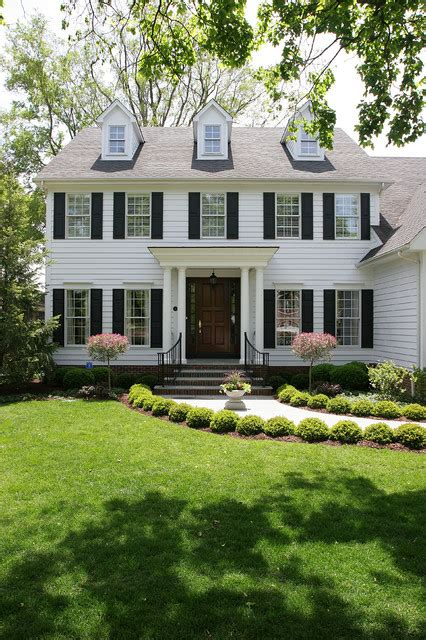 White Colonial House  Traditional  Exterior Chicago