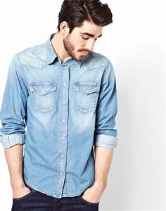 Lyst - Pepe jeans Denim Shirt Snow Bleach Western in Blue for Men