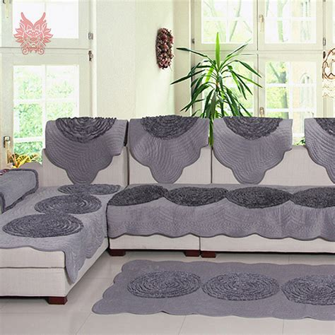 canape beige pastoral style luxury grey beige disk floral fleece sofa