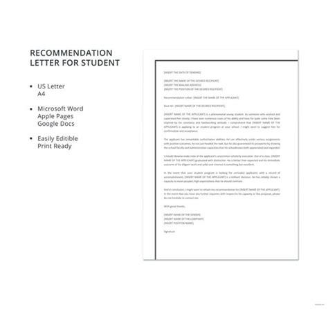 recommendation letter for student 12 letter of recommendation for student templates pdf 8450