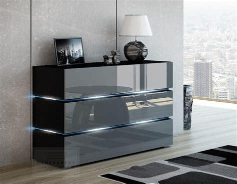 Grau Modern by Kaufexpert Kommode Shine Sideboard 120 Cm Grau Hochglanz