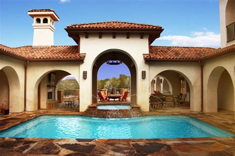 courtyard pool mediterranean pool austin  asomoza homes design build