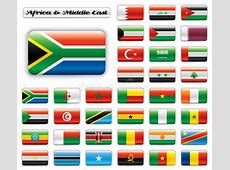 Extra Glossy Button Flags Africa & Middle East Stock