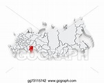 Clip Art - Map of the russian federation. chelyabinsk ...