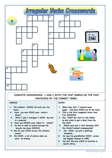 irregular verbs crossword puzzles worksheet  esl
