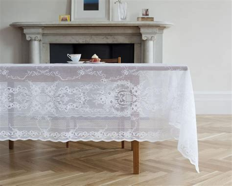 Lydia White Scottish Lace Tablecloth