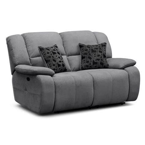images end table with built in l gray linen fabric upholstered sofa loveseat with reclining