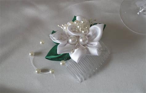 acconciatura con fiore pettine per acconciatura sposa con fiore bianco kanzashi e