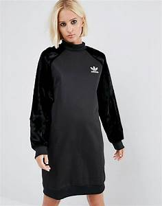adidas adidas originals sweatshirt dress with velvet sleeves With robe sweat adidas