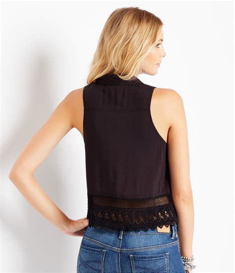 Aeropostale Womens Sleeveless Lace Button Down Blouse Ebay