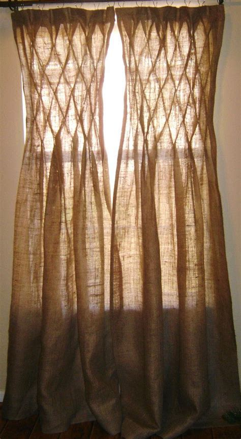 Smocked Burlap Curtain Panels by Burlap Smocked Curtains Drapes By Naturallyhomedecor On