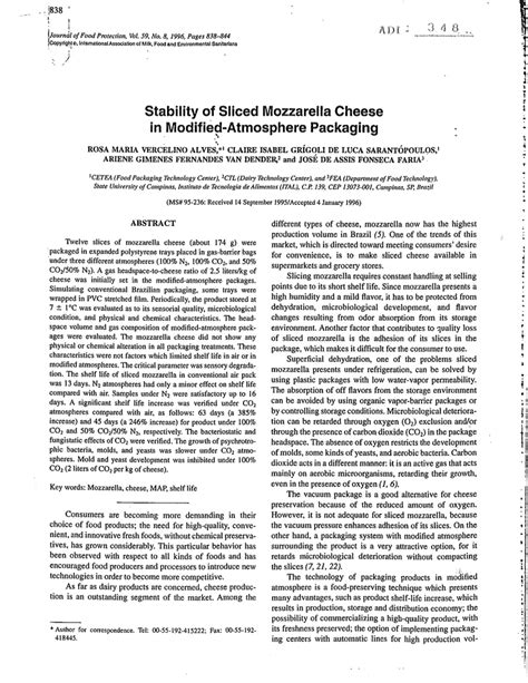 Modified Atmosphere Packaging For Cheese by Pdf Stability Of Sliced Mozzarella Cheese In Modified